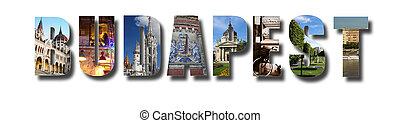 Budapest banner collage on white