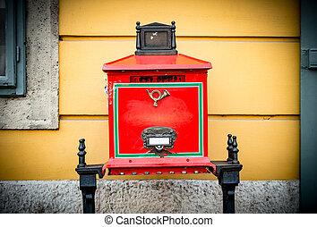 budapest., caixa postal, rua, antigas
