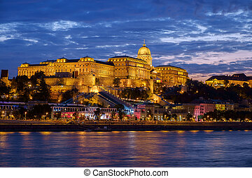 Budapest Castle at Sunset, Hungary - Budapest Castle at...