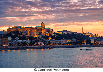 Budapest Castle at Sunset, Hungary