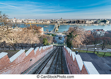 Budapest Castle Hill Funicular, Hungary.