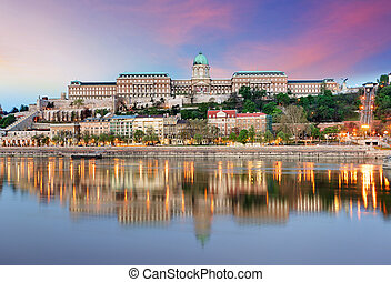 Budapest castle  in evening.