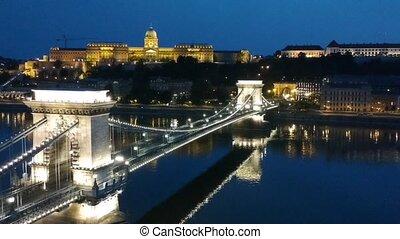 budapest, chaîne, métrage, nuit, pont, bourdon, -