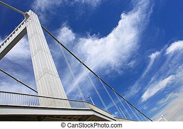 Budapest city, bridge and sky