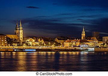 Budapest City Skyline At Night
