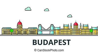Budapest city skyline. Buildings, streets, silhouette,...