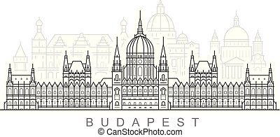 Budapest city skyline - hungarian parliament building, cityscape and landmarks of Budapest