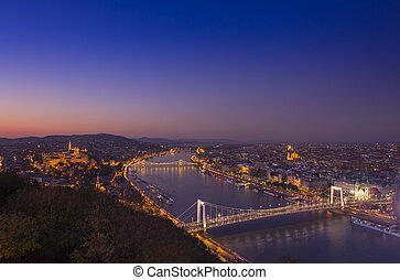 Budapest cityscape at night. Hungary