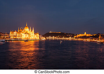 Budapest Cityscape at night. With the all main landmarks of...