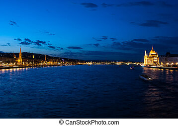 Budapest Cityscape at night. With the Hungarian Parliament...