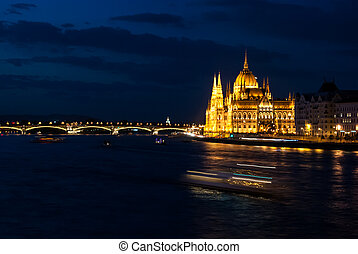 Budapest Cityscape at night.