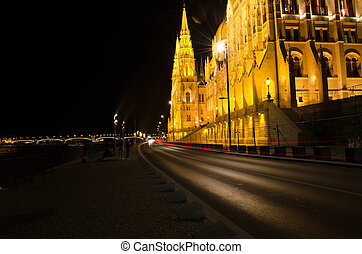 Budapest Cityscape at night with the Hungarian Parliament Beautiful reflection in the water of Danube river.