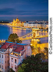 Cityscape image of Budapest, capital city of Hungary, during twilight blue hour.