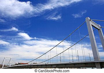budapest, ciudad, puente, y, cielo