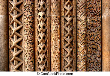 Budapest column patterns - Entrance to a church next to...