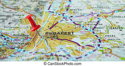 budapest, concept, map., voyage, épingle