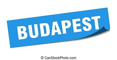 budapest, cuadrado azul, policía, sticker., señal