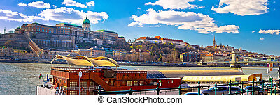 Budapest Danube river historic waterfront architecture springtime view, capital of Hungary