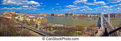 Budapest Danube river waterfront panoramic view