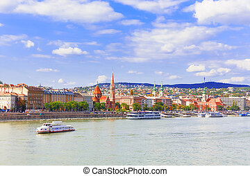 Budapest. Danube. View on Buda - Hungary. Budapest. A...