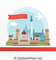 Budapest detailed silhouette. Trendy stylish colorful...
