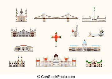 Budapest historical building - Vector graphics, flat city ...