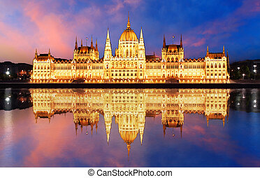 Budapest - Hungarian parliament. with reflection in Danube river at night - Hungary