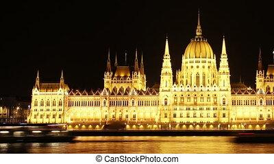 Budapest Hungarian Parliament Night Timelapse pan