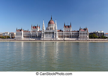 Budapest - Hungarian parliament. with reflection in Danube river