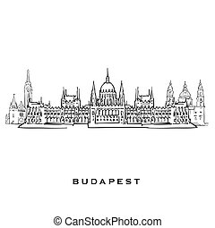 Budapest Hungary famous architecture. Outlined vector sketch...