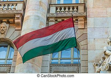Budapest Hungary, Hungarian flag closeup