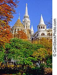 Budapest, Hungary - Matyas church and Fisherman Bastion,...