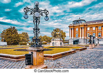 BUDAPEST, HUNGARY-MAY 03, 2016 : Budapest Royal Castle -Courtyard of the Royal Palace in Budapest. Hungary.