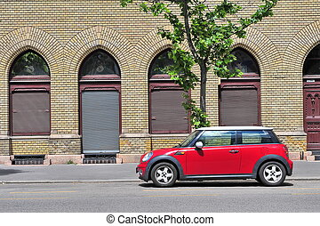 Mini Cooper parked in the street - BUDAPEST, HUNGARY - MAY...
