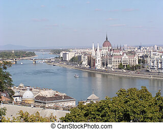Budapest (Hungary) - View of Pest and the Danube from Buda.