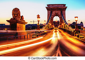 The Szechenyi Chain Bridge, Budapest, Hungary, in the sunrise