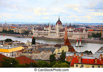 Budapest, Hungary. View of the Danube River and the Budapest skyline on a warm summer day.
