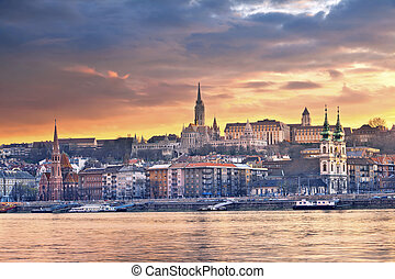 Budapest. - Image of Budapest skyline during spring sunset.