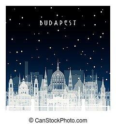 budapest., invierno, noche