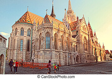 BUDAPEST - JUNE 27: View to Matthias Church in the Castle...