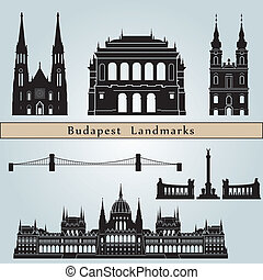 Budapest landmarks and monuments isolated on blue background...