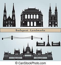 Budapest landmarks and monuments isolated on blue background...