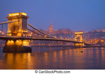Budapest landmarks at night, Hungary