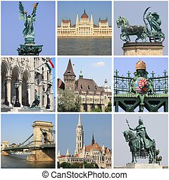Budapest landmarks collage - Collage of landmarks of...