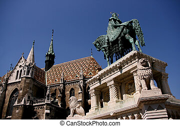 Budapest landmarks - Hungarian King Saint Stephen statue and...