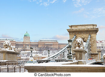 Budapest landmarks , Hungary - Chain Bridge and Royal Palace...