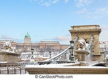 Budapest landmarks , Hungary - Chain Bridge and Royal Palace...
