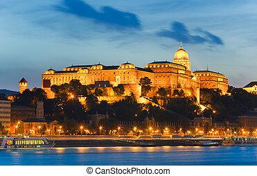 Budapest night view - Budapest Royal Palace night view. Long...