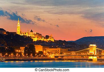 Budapest night view. Long exposure.
