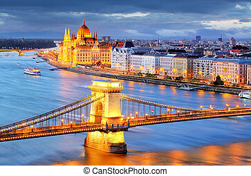 Budapest, night view of Chain Bridge on the Danube river and...